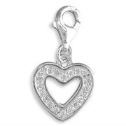 Sterling silver clip on cubic zirconia cut out heart charm